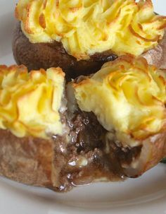 Suprise, they're not twice baked! There's a beef cottage pie filling inside!