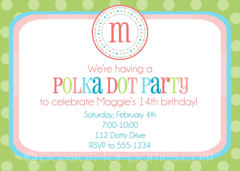 Polka Dot Party Monogrammed Invitations. $15.00, via Etsy. | Party ...