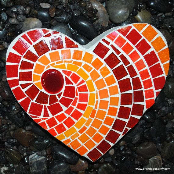 Red Hot Heart Mosaic Stepping Stone by brendapokorny on Etsy