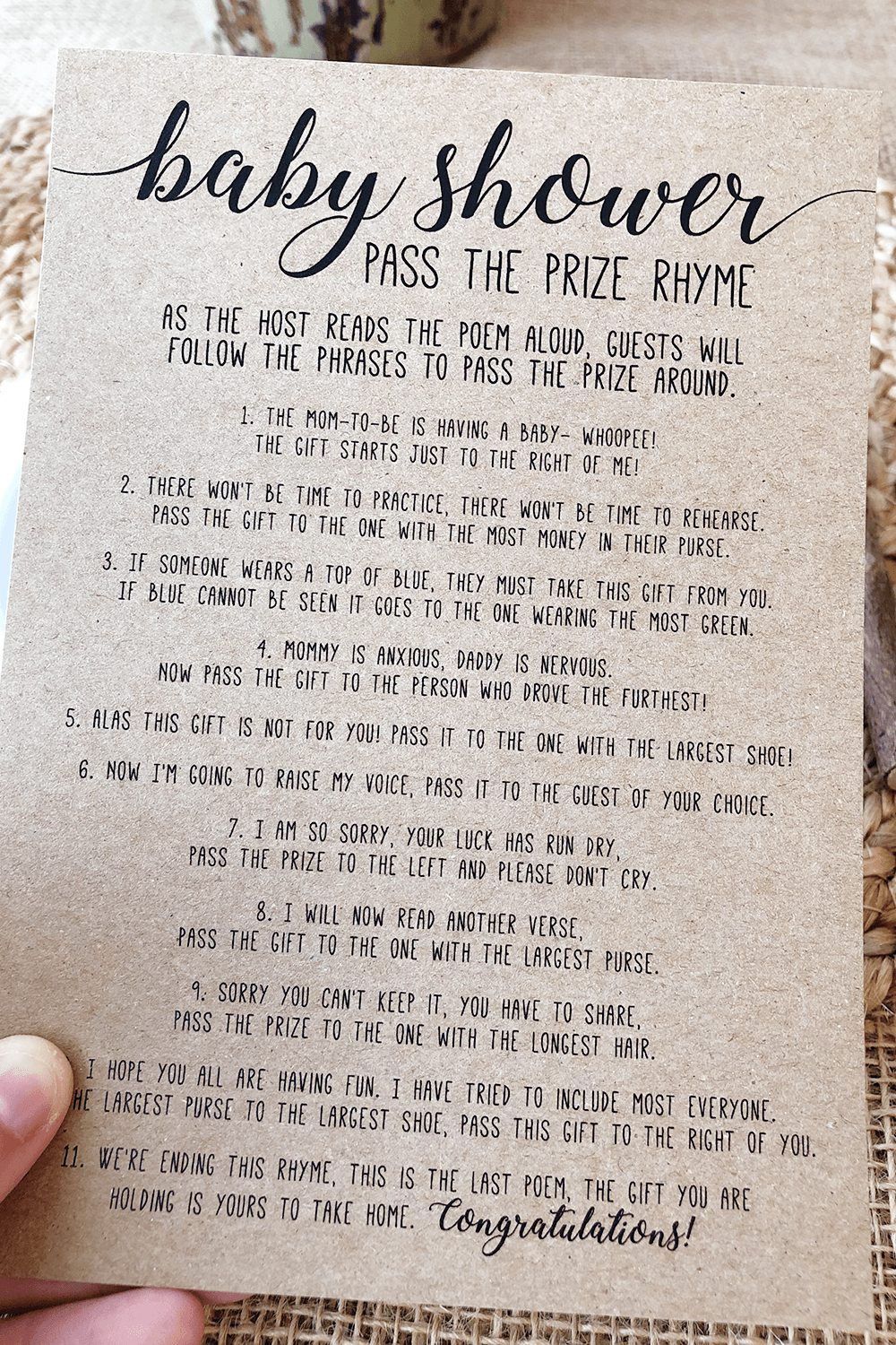 Pass the Prize Baby Shower Poem . Baby Shower Pass the Parcel Poem . Baby Shower Game Pass the Gift Poem