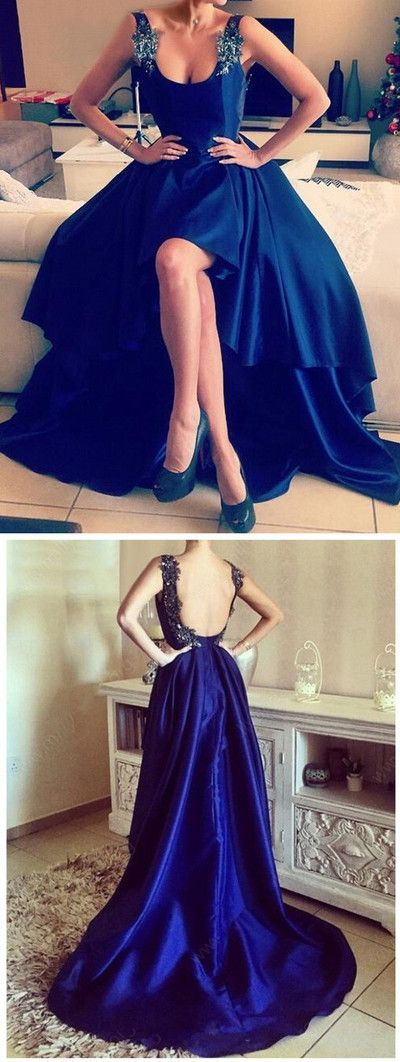 Hi-lo prom dress,Royal Blue prom dresses,Charming prom dress,Sleeveless evening dress,Handmade prom dresses,New Arrival Prom Dress,PD00138