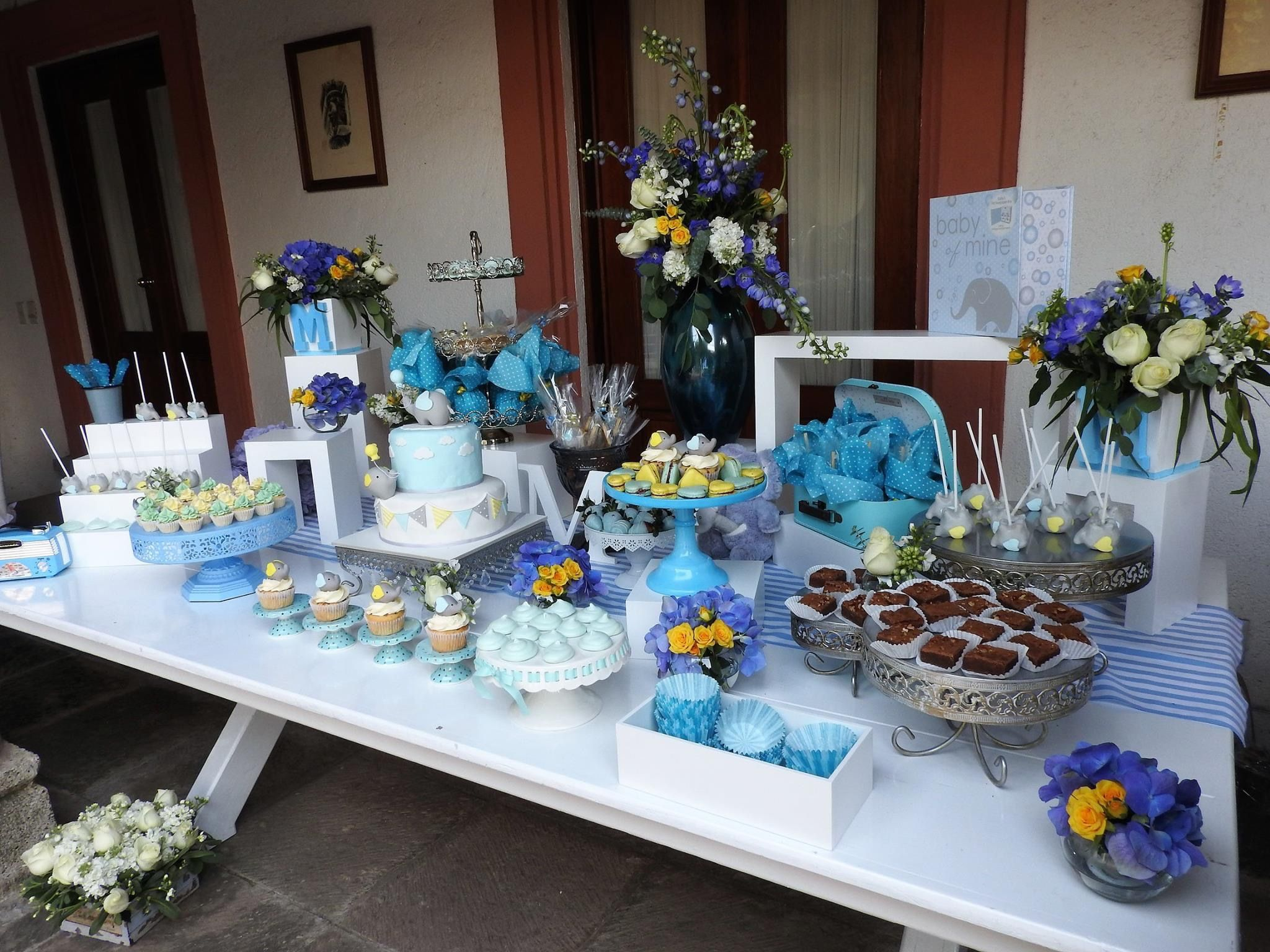 Mesa Postres Baby Shower Elefantes EventosBebos blueelephant