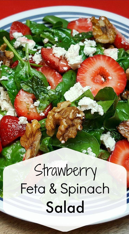 Strawberry Feta Spinach Salad Recipe | Mama Likes To Cook
