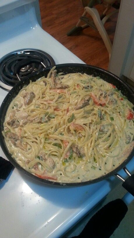 Cajun chicken pasta with linguine no sun dried tomatoes.  Came out great daughter had seconds!