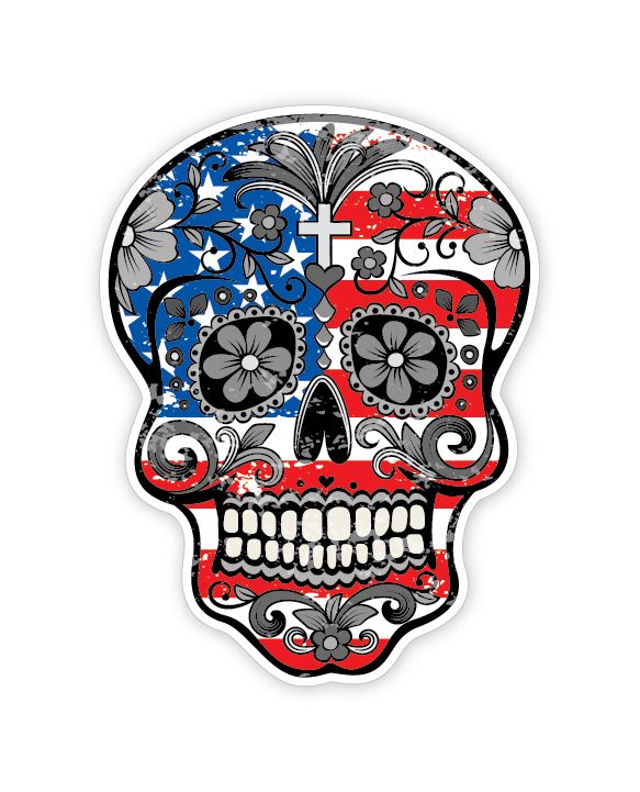 Grunge american flag detailed sugar skull sticker series 1 the mexican day of the dead calavera
