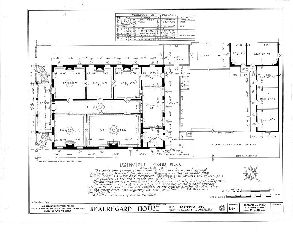 Floor Plan For The Beauregard Keyes House