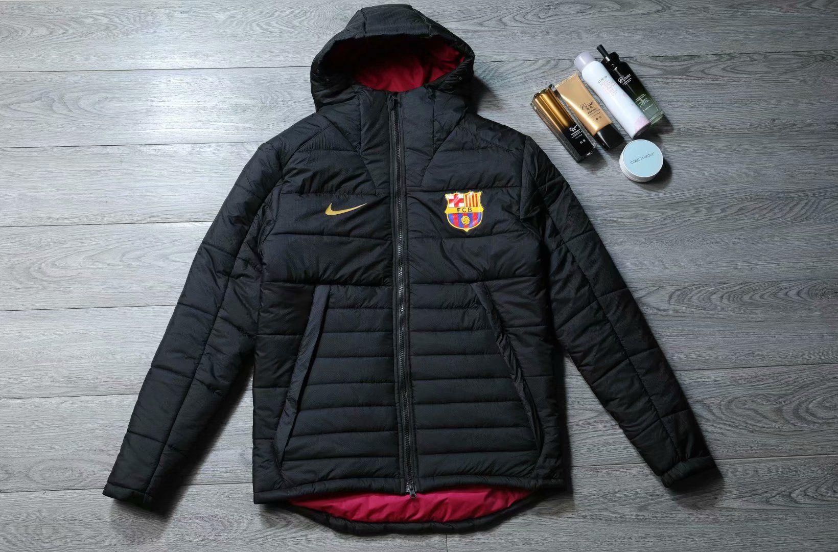 Fc barcelona football club adidas black hat feather jacket