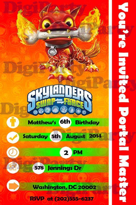 SKYLANDERS Birthday Invitation Personalized Custom -Same Day Service ...
