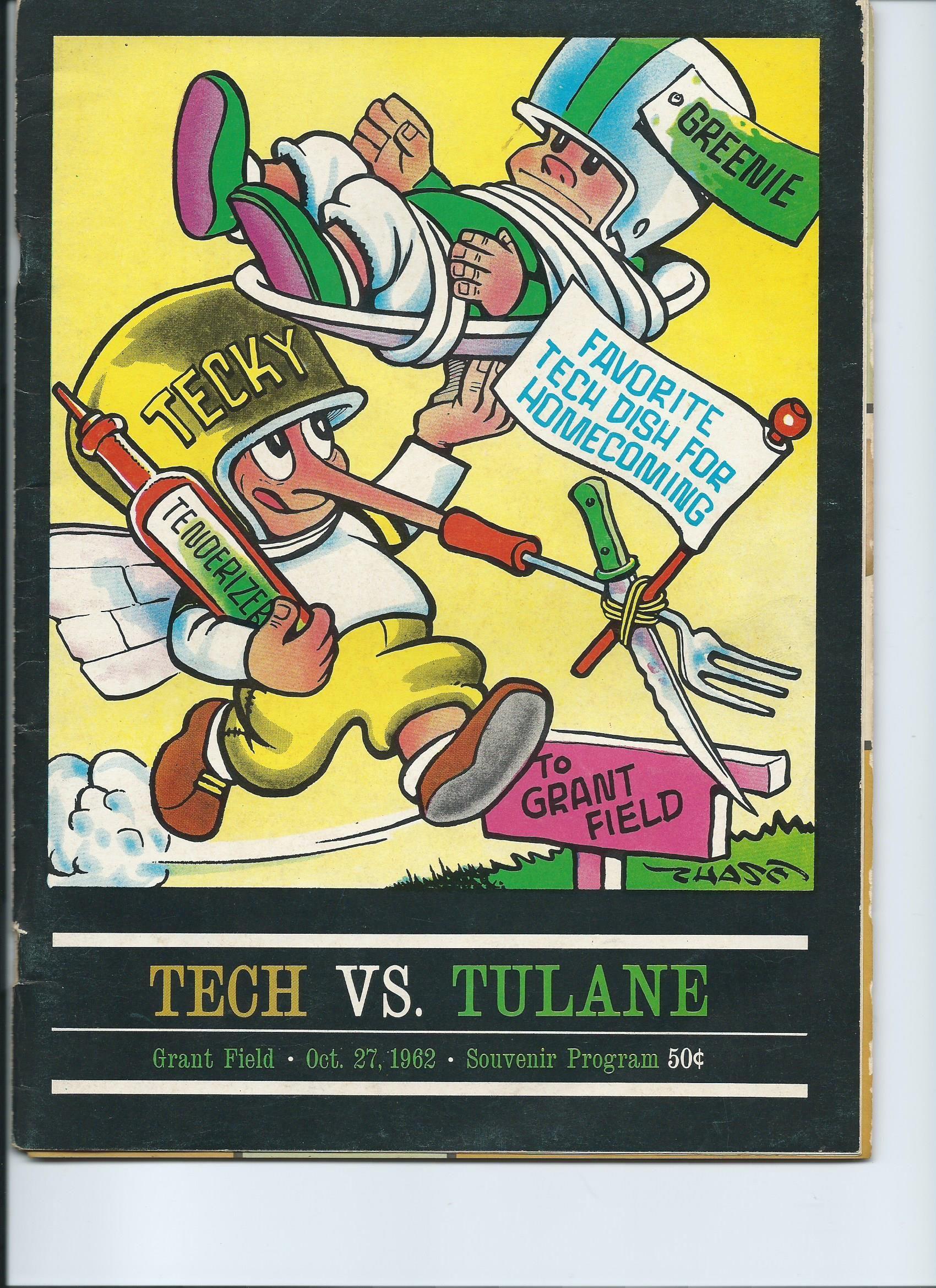 Oct 27,1962 Game day program Tech vs Tulane.Tech