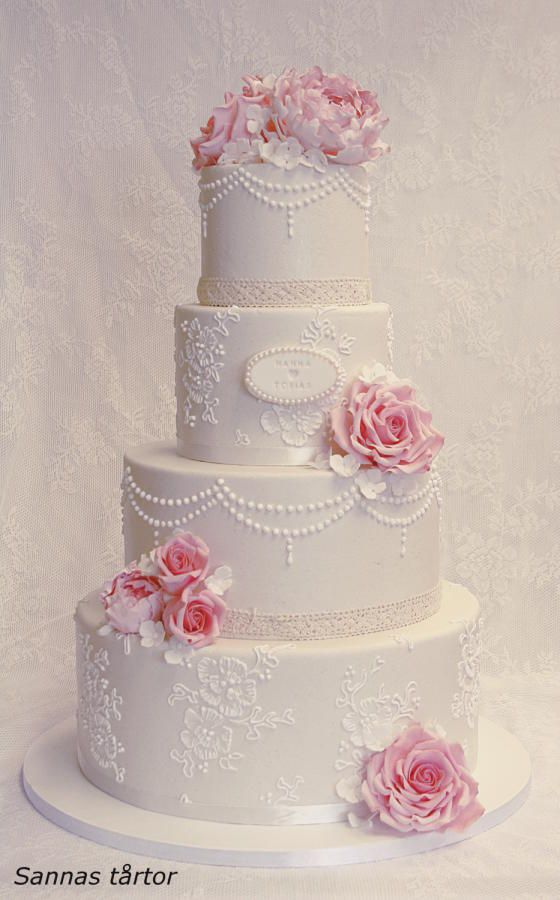 Lace And Pearl Wedding Cake Cake By Sannas Tartor With Images