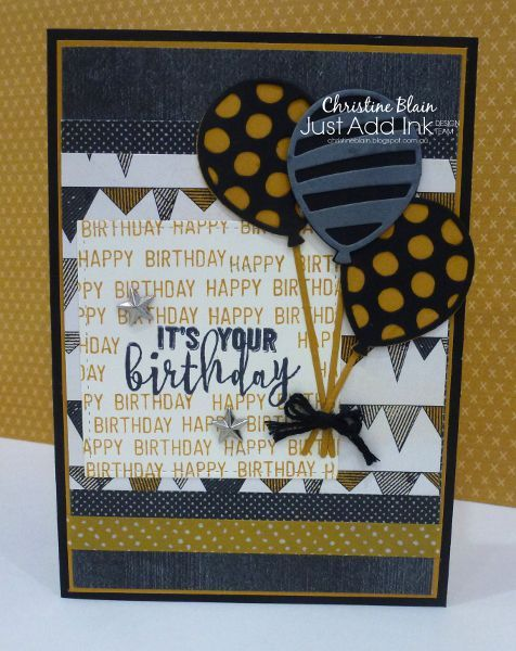 Happy Heart Cards Jai 343 Stampin Up Balloon Pop Up Masculine