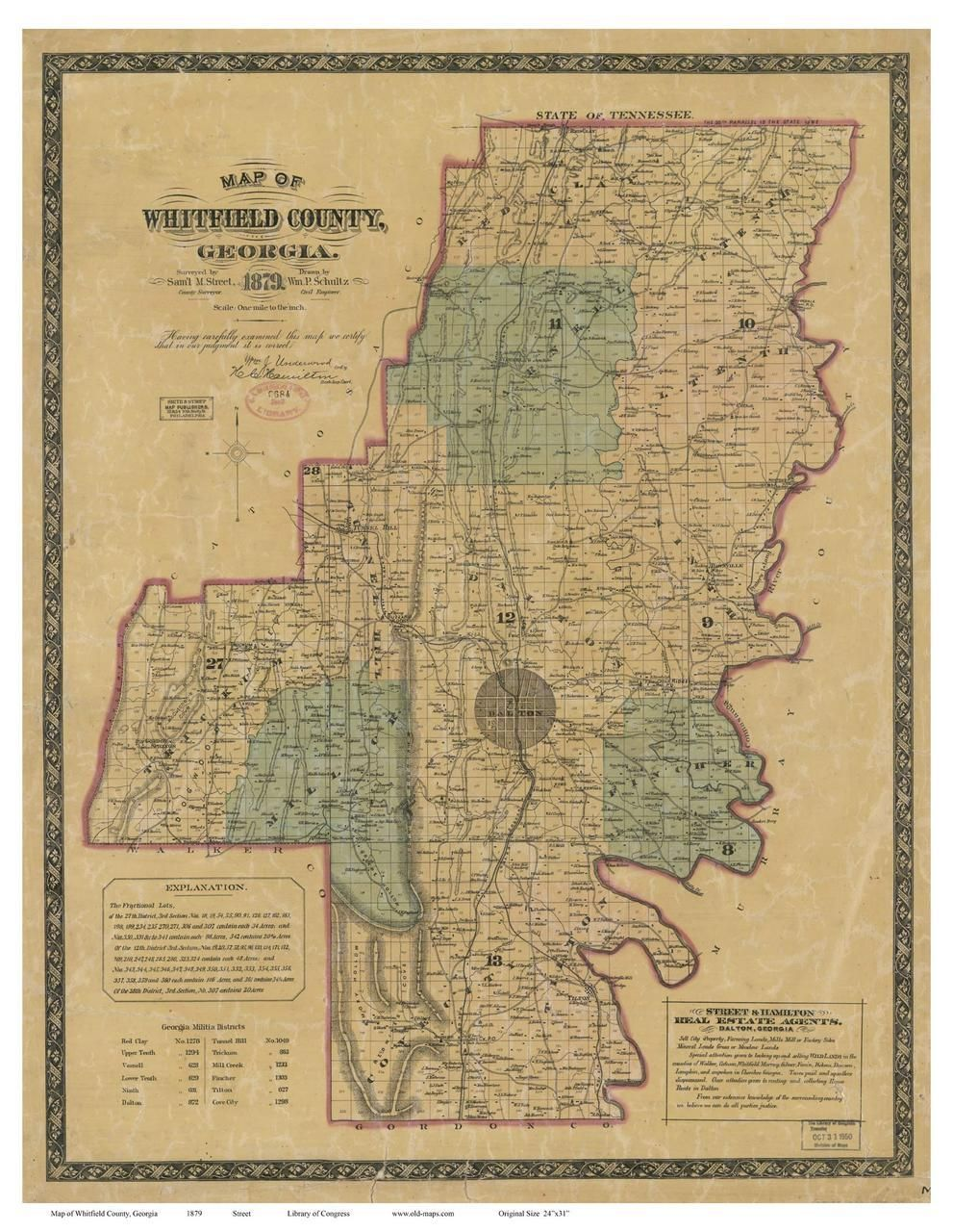 Whitfield County 1879 Georgia Old Maps of Georgia