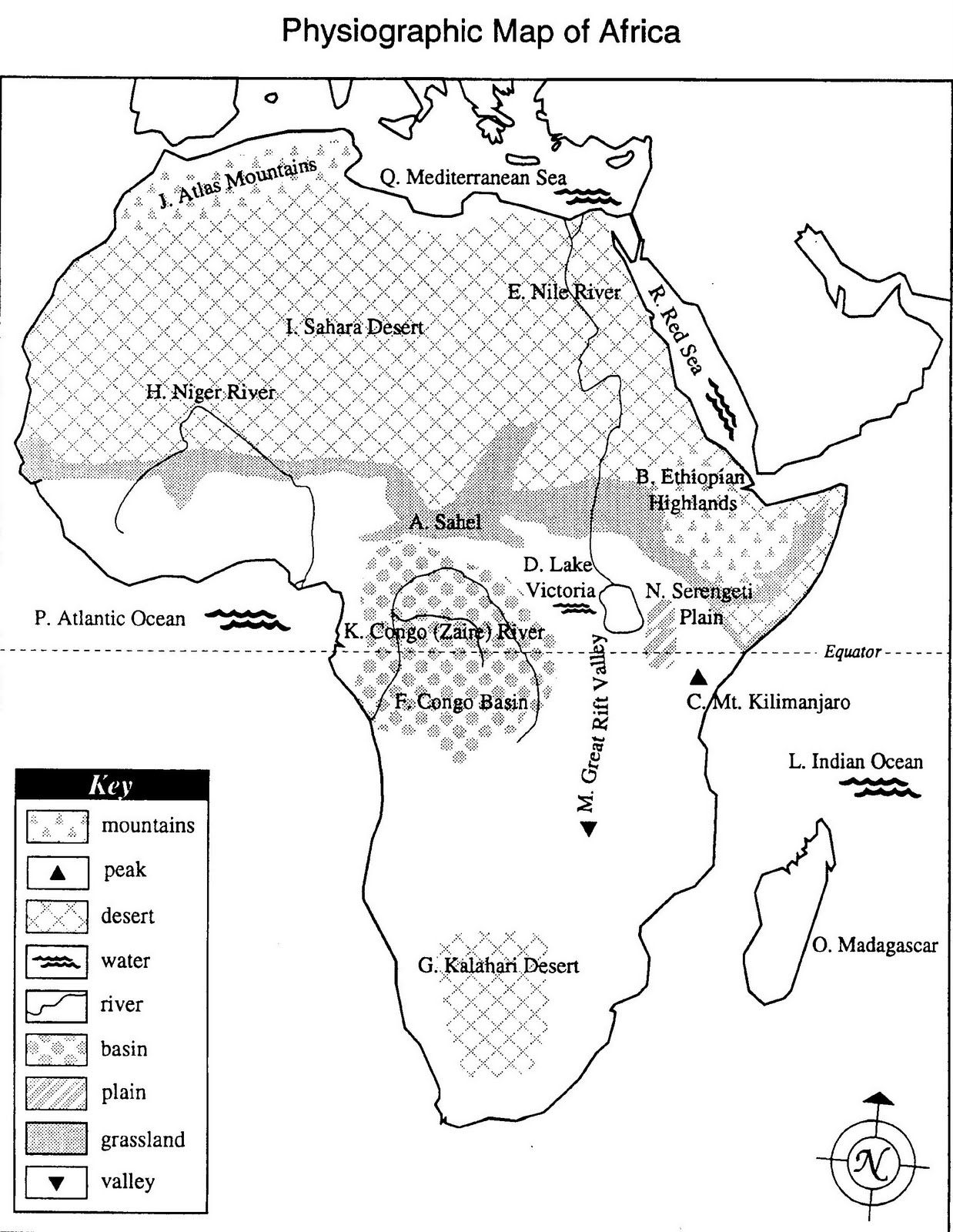 Physiogeographic Map Of Africa