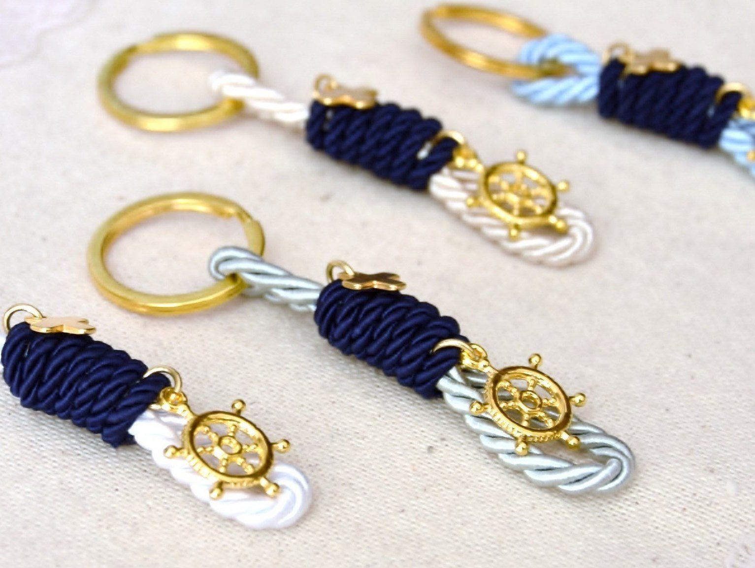 Navy blue nautical baptism favors keychains for boys with