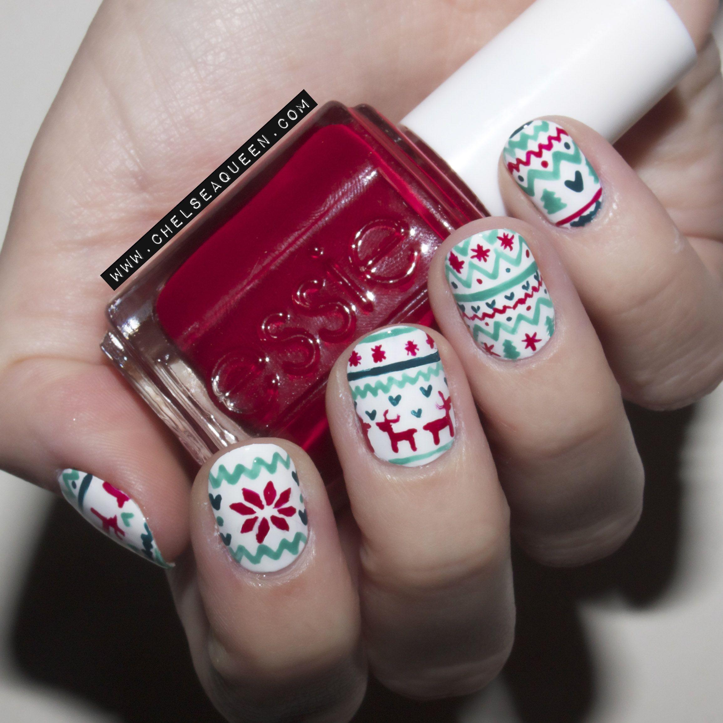 Fair Isle Print Nails www.chelseaqueen.com | nail art | Pinterest ...