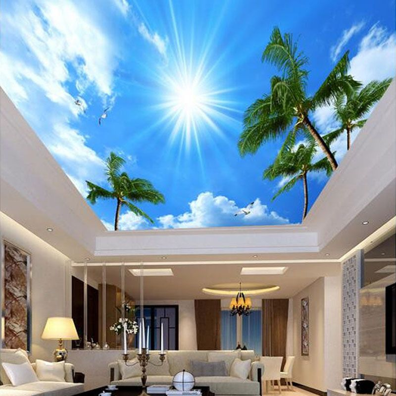 Custom Photo Wallpaper 3d Living Room Bedroom Ceiling Murals Wall Decor Painting Non Woven Wallpaper Coconut Tree Ceiling Murals Wallpaper Ceiling Sky Ceiling
