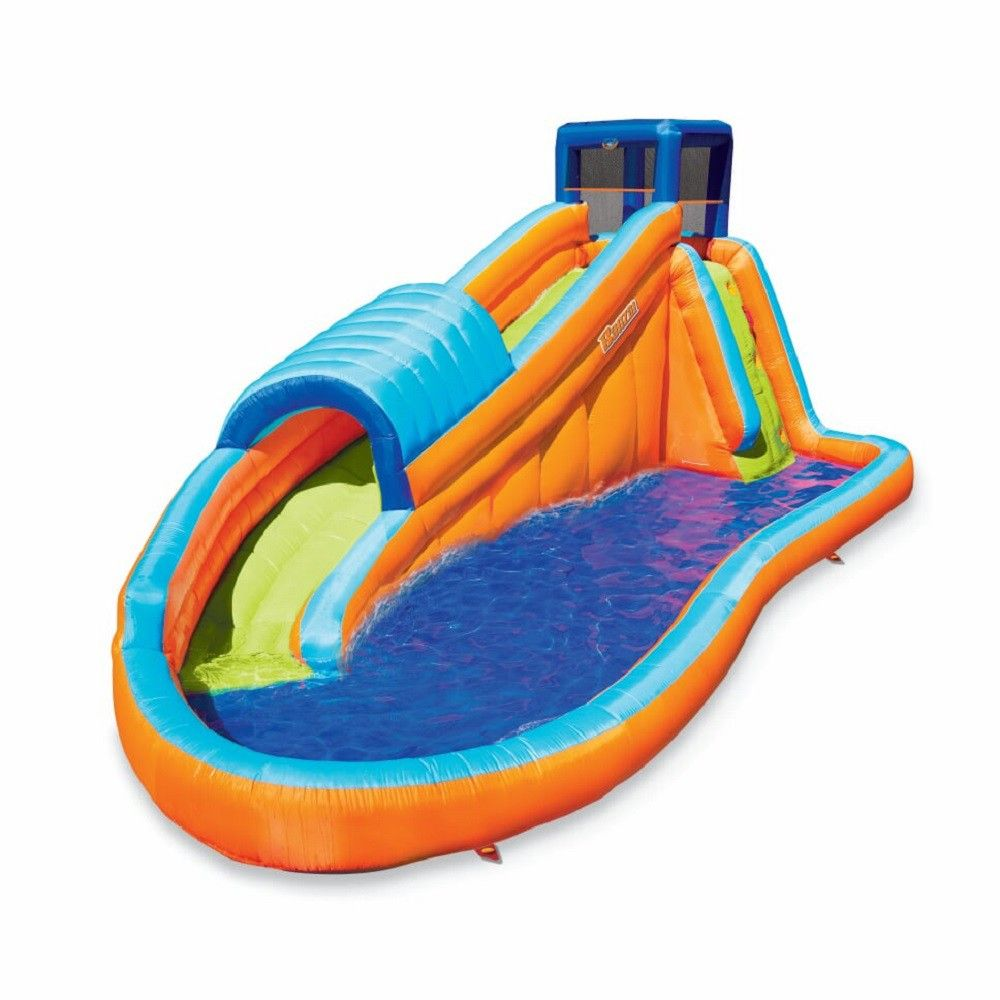 Banzai 90330 Surf Rider Inflatable Backyard Outdoor Water Park With Blow Motor With Images Inflatable Water Slide Inflatable Water Park Water Slides