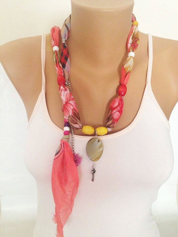 Coral Jewelry Scarf  Beaded Necklace Scarf  Unique by MaxiJoy, $12.00