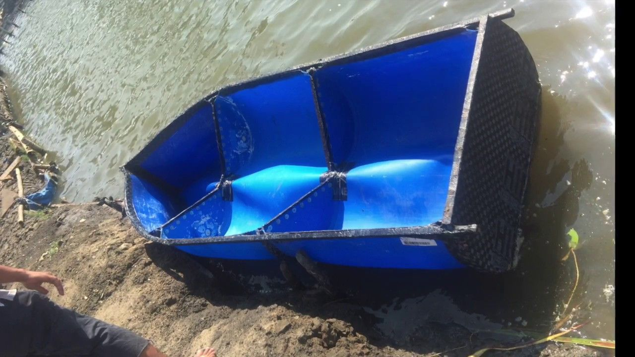 DIY plastic barrel boat project - YouTube   Pontoon boat   Boat projects, Pontoon boat, Boat design