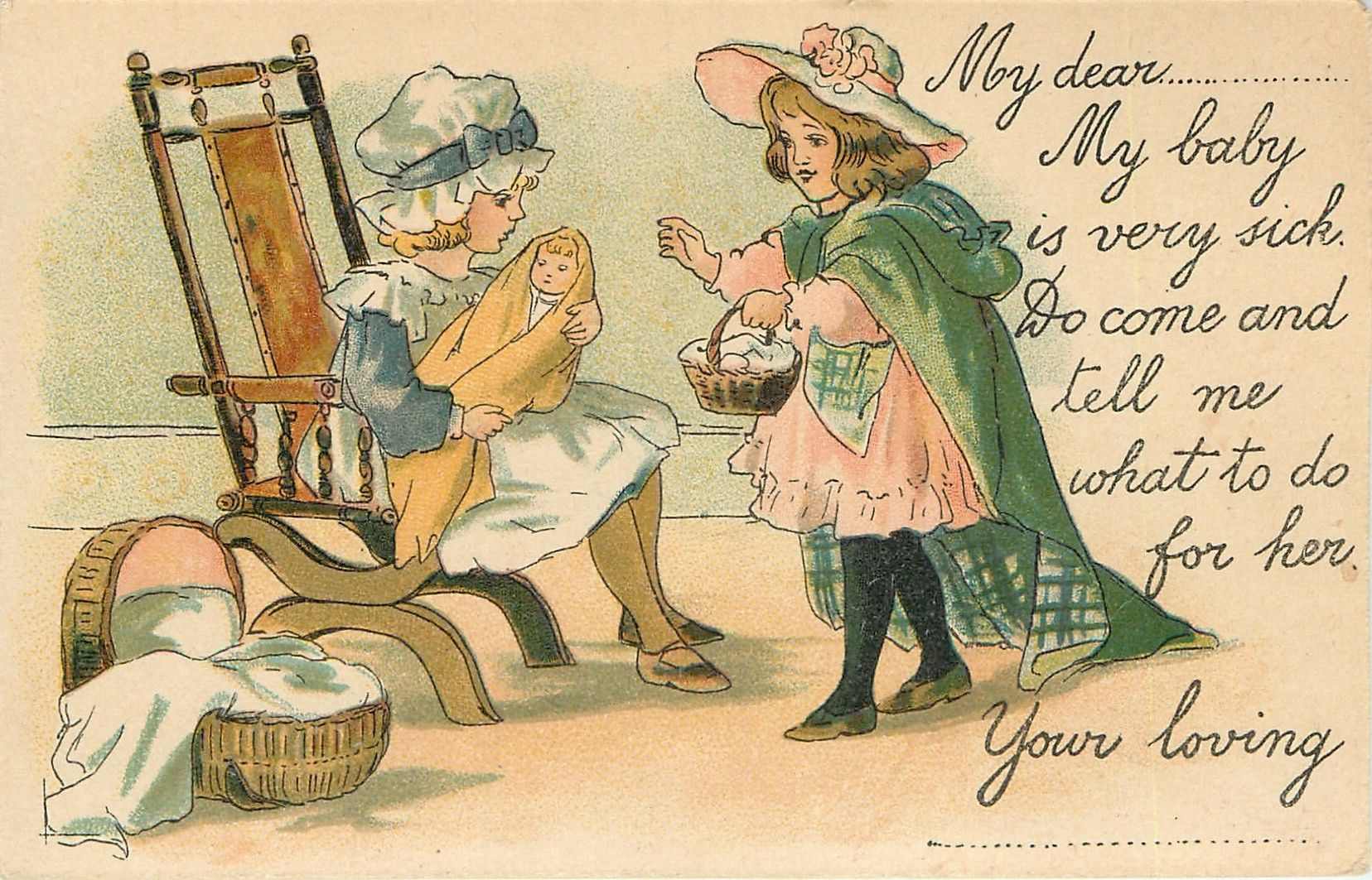 vignette of two girls, girl left sitting in armchair with doll on her lap, another right holding basket in right hand