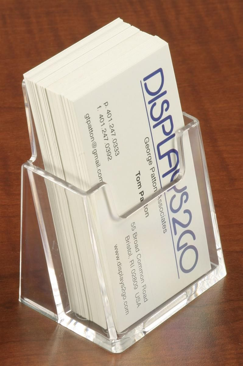 Single Pocket Business Card Holder For Tabletop Vertical Cards Clear