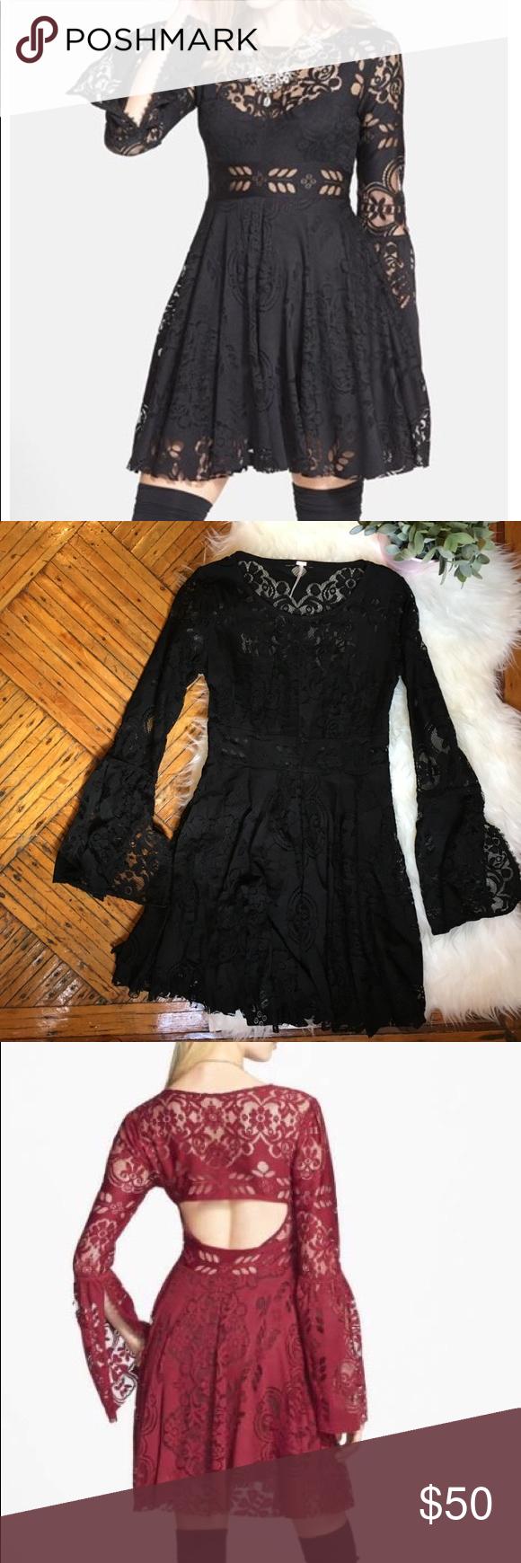 Free people black lace loverus folk song dress