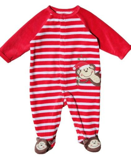 b71e4baf2 Buy Little Me Christmas Monkey Striped Velour Footie, Baby Boy First  Christmas Outfit, Fun Christmas Clothes, Little Me Newborn Footie and get  free shipping ...