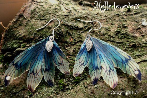 Elven elven fairy wings silver steel earrings by Melledenevers