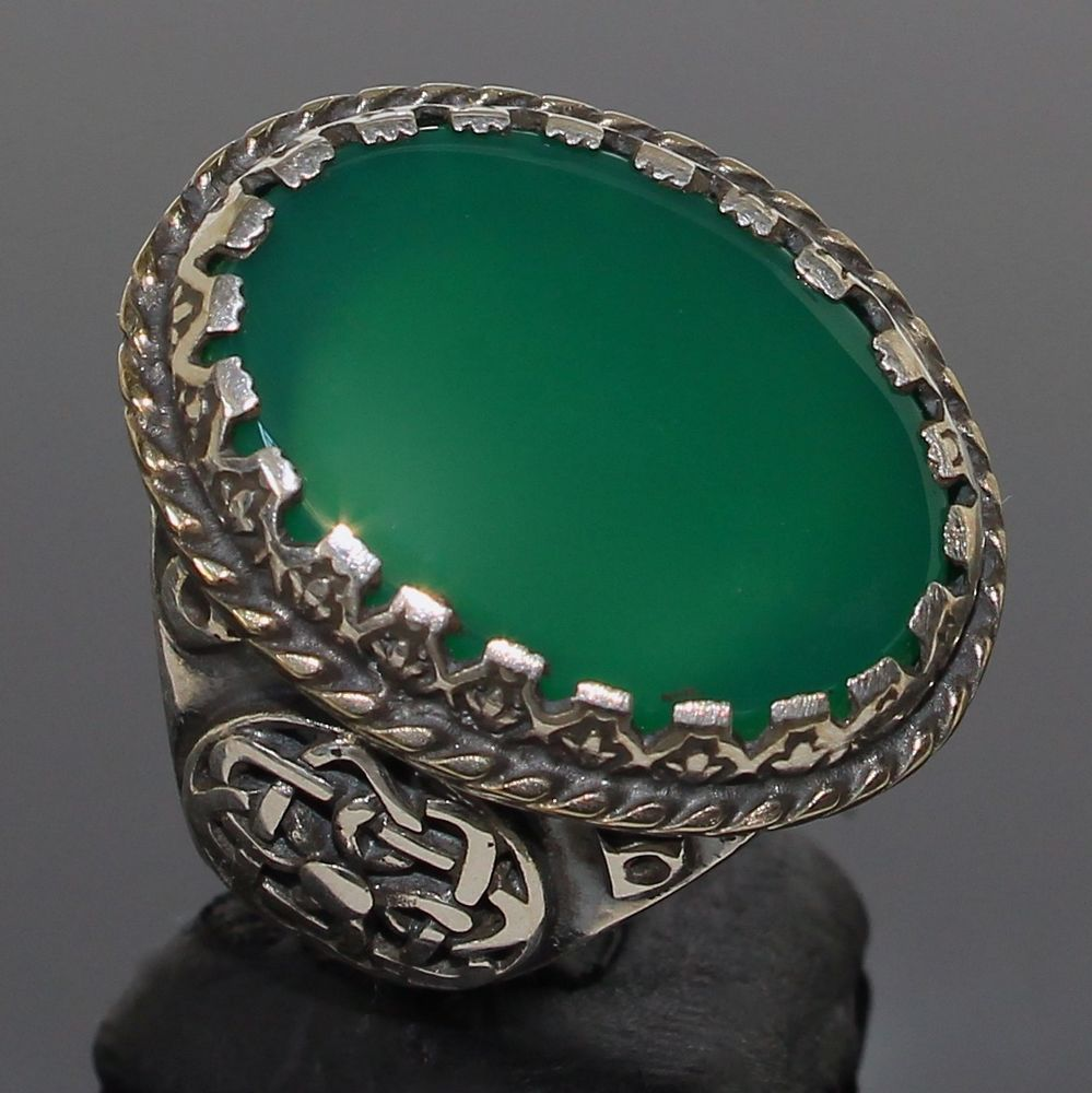 925 Sterling Silver Mens Ring Green Agate Aqeeq Unique