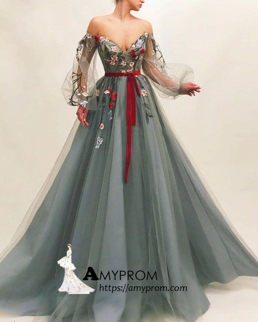 Chic Off-the-shoulder Boho Long Prom Dress With Applique Prom Dress Go – AmyPr…