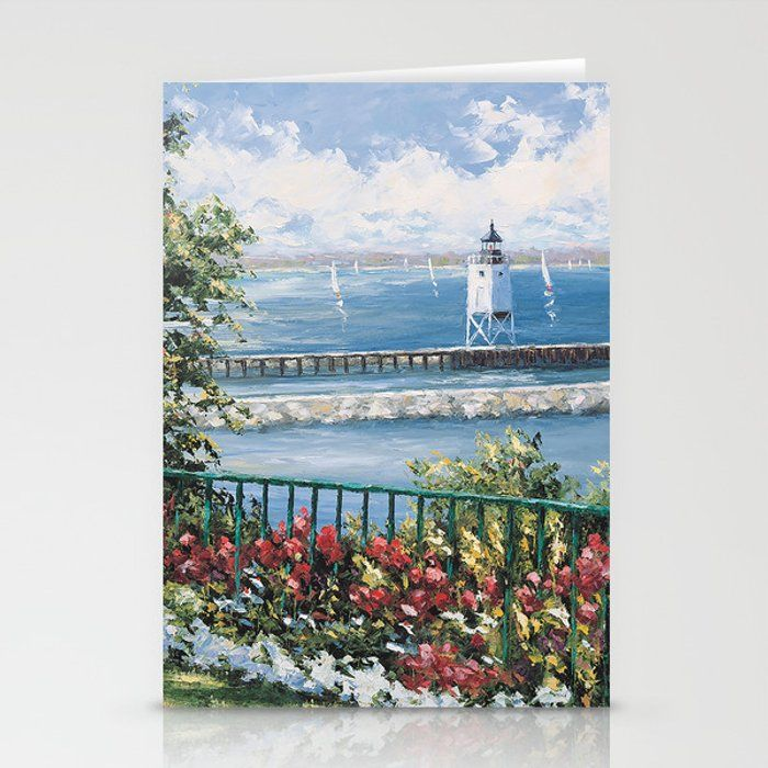 Charlevoix Lighthouse Greeting Card by Valerie Thomson Art - Set of 3 Folded Cards (5
