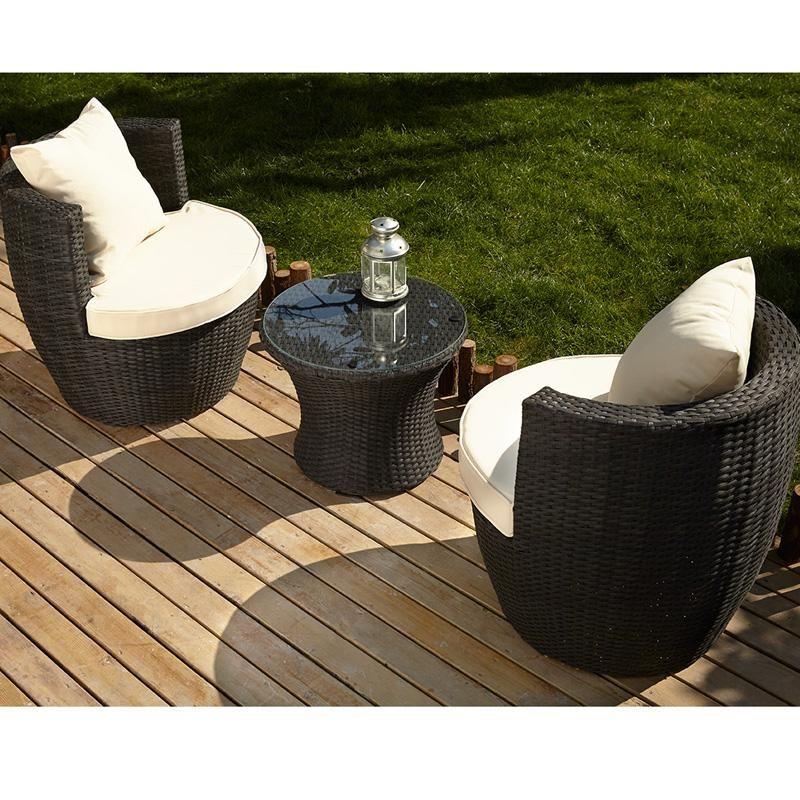 Salon de jardin 2 places en résine tressée noir Garden Spirit - Tek ...