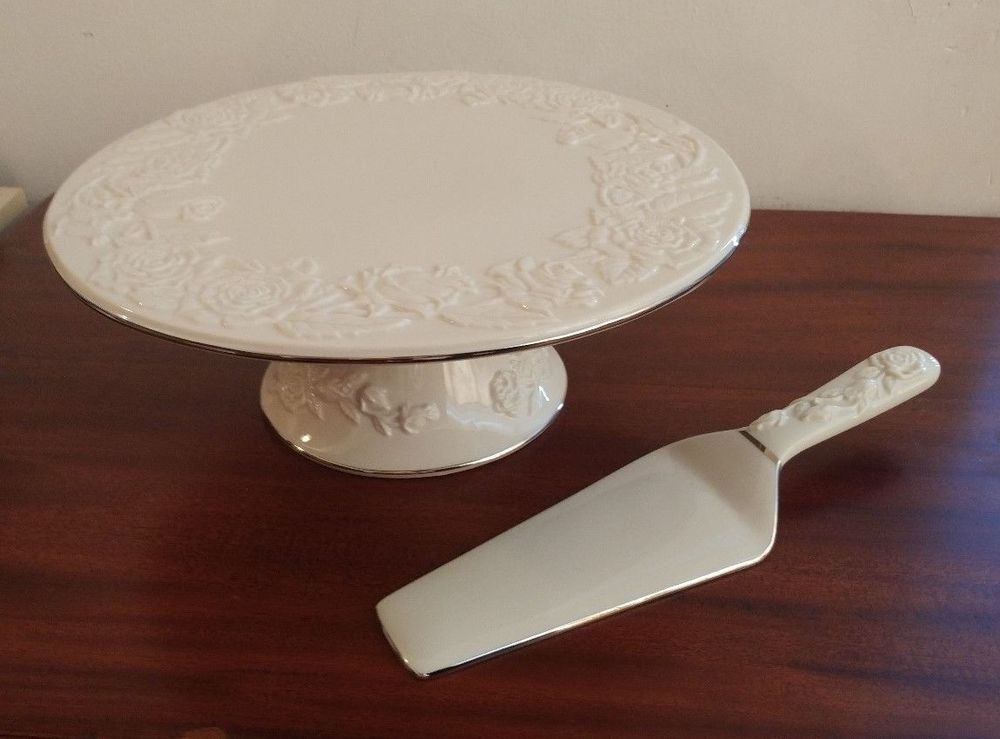 Royal Limited Porcelain Footed Cake Plate Server Platinum Rose In Box Royallimited Footed Cake Plate Cake Plates Platinum Rose
