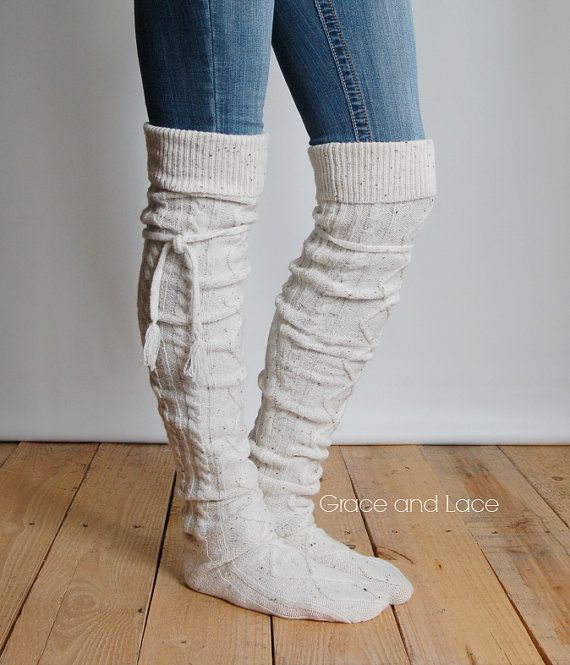 4ee22940a20db Alpine Thigh High Slouch Sock Tweed thick cable knit socks w fold