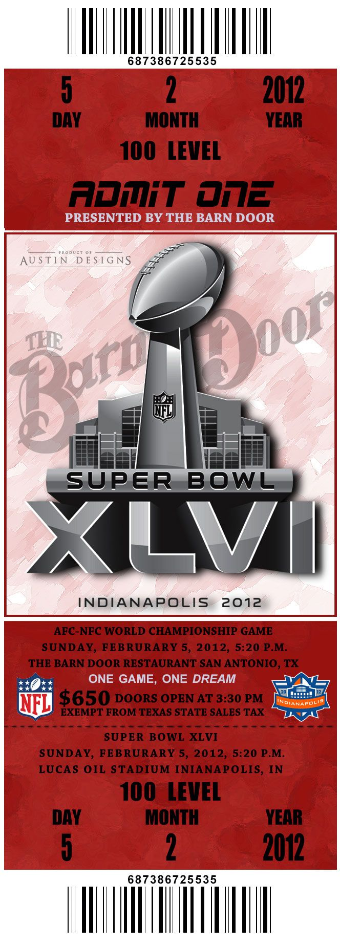 Fake Superbowl Tickets For A Work Party At The Barn Door Restaurant