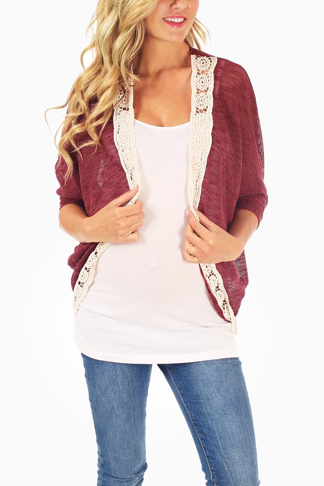Burgundy-Knit-Crochet-Trim-Dolman-Sleeve-Maternity-Cardigan