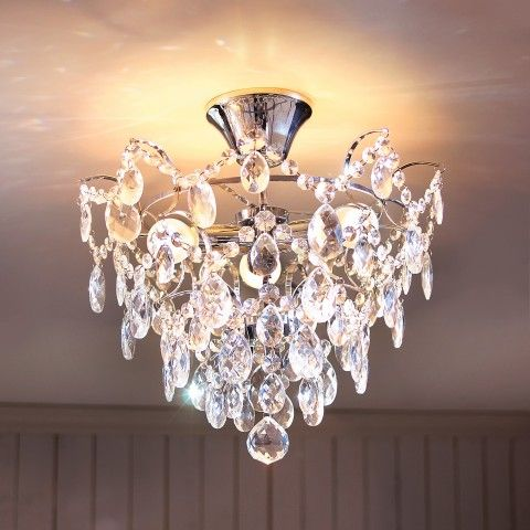 LED Decken Kronleuchter Lüster Pendel Lampe Chrom Kristall Leuchte Beleuchtung