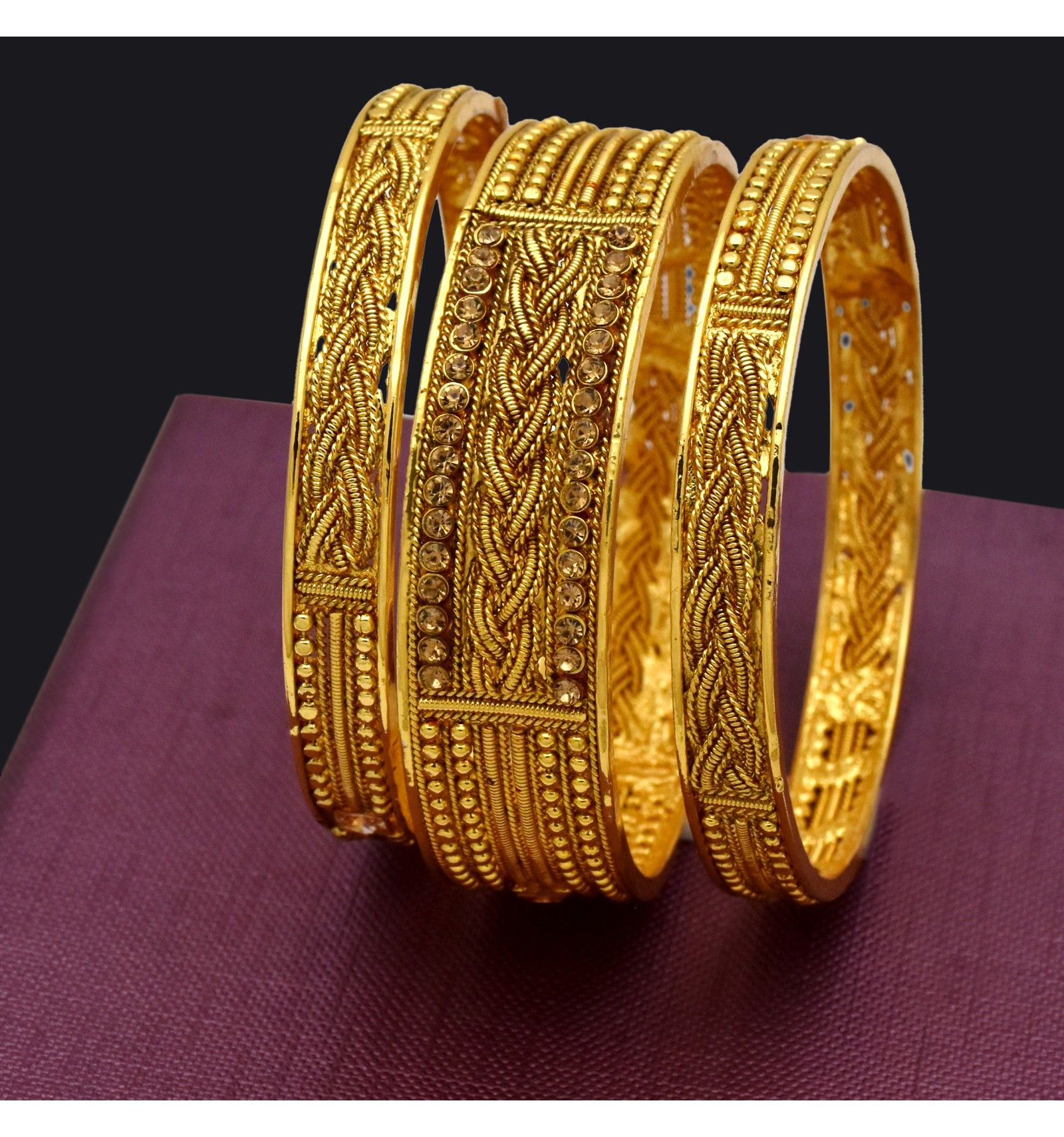 Buy Gold Plated Antique Stone Bangles Set Online Kollam Supreme & Gold Plated Antique Stone Bangles Set   Antique Jewellery ...