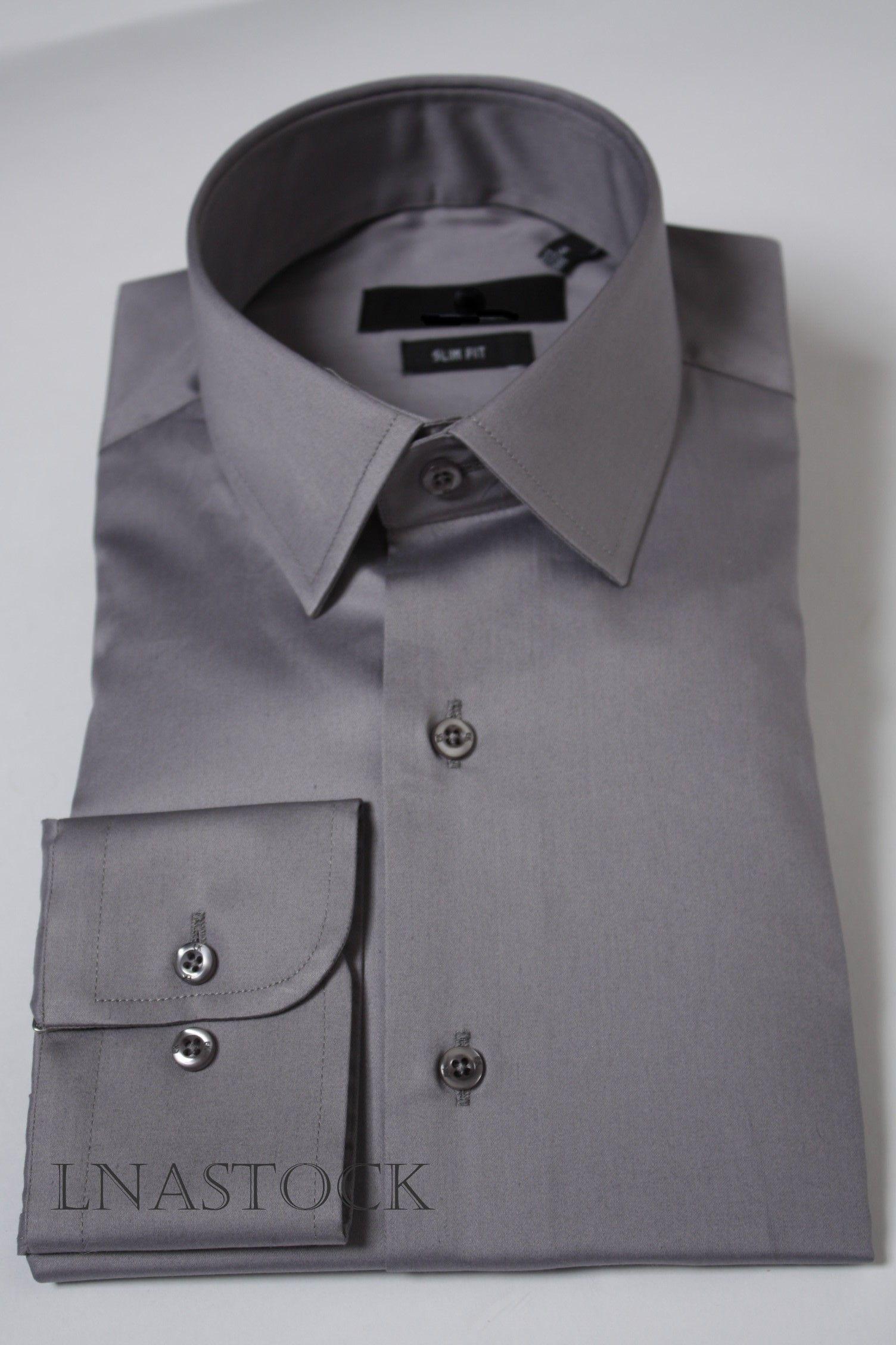 Chemise slim fit pur coton grise   Les chemises cintrées   Chemise ... a04d20be75cb