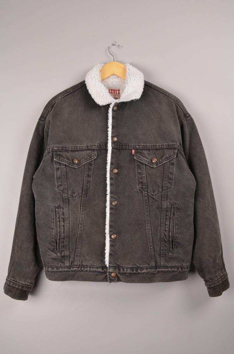 de1359a2 levis, levis sherpa jacket, vintage levis, vintage sherpa, levis denim  jacket, sz: M, windbreaker, vintage jean jacket, black denim jacket door ...