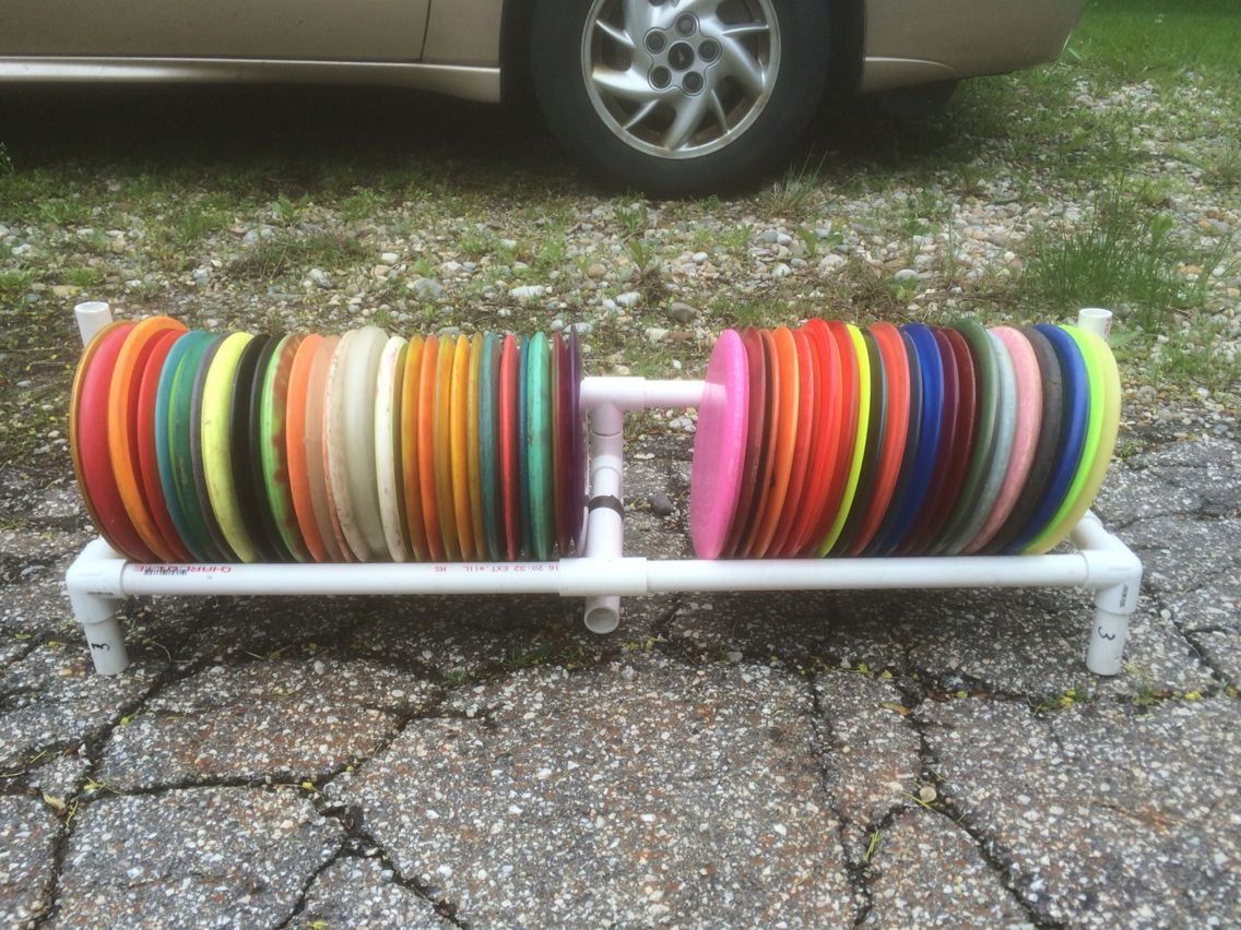 pvc pipe disc golf rack for your trunk 3 disc golf pinterest