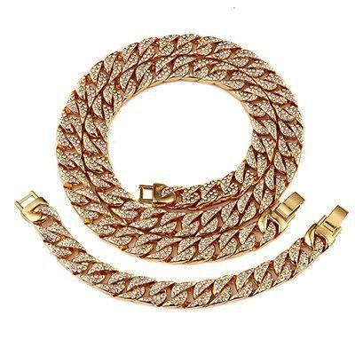 Miami Cuban Necklace & Bracelet Set-18K Gold Plated Full Of Rhinestone Set