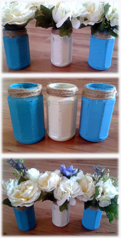 pot mason bocaux de verre style rustique, shabby chic vase à fleur