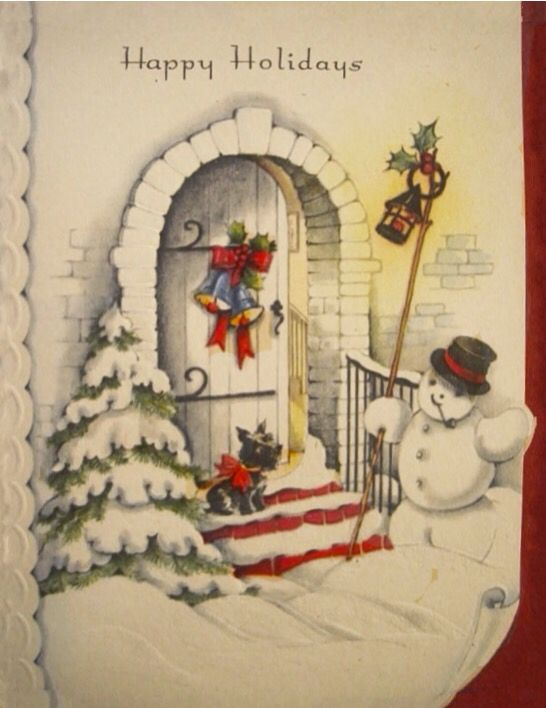 1940\'s Vintage Christmas Greeting Card USA Cute Snowman Front Door ...