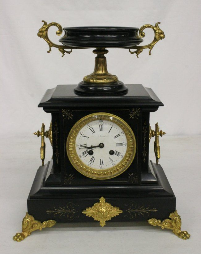 French marble cased table clock with bronze ormolu