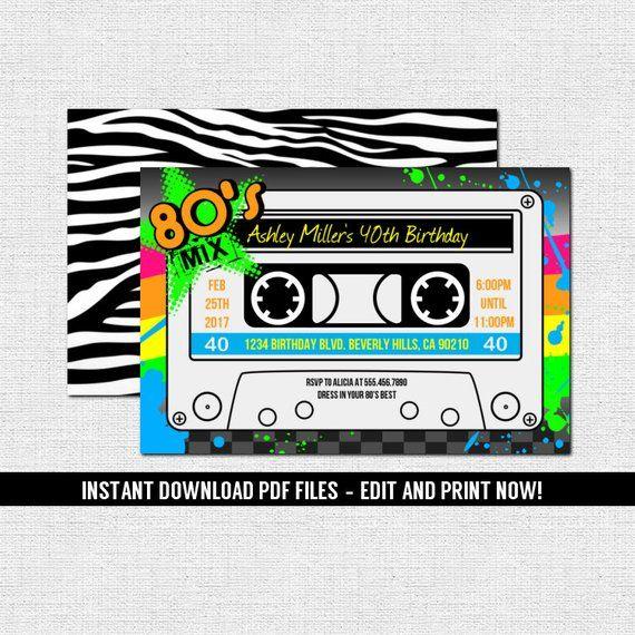 80 S Party Invitation Cassette Tape Style Birthday Graduation