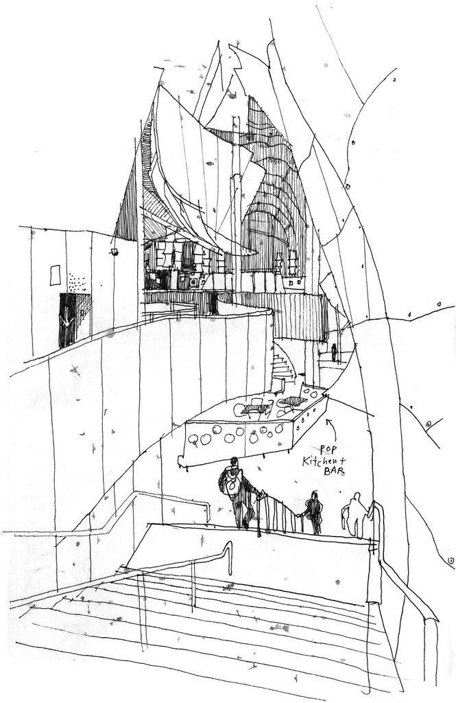 Frank Gehry Famous Building Drawing | Urban Sketchers: Rain and rock
