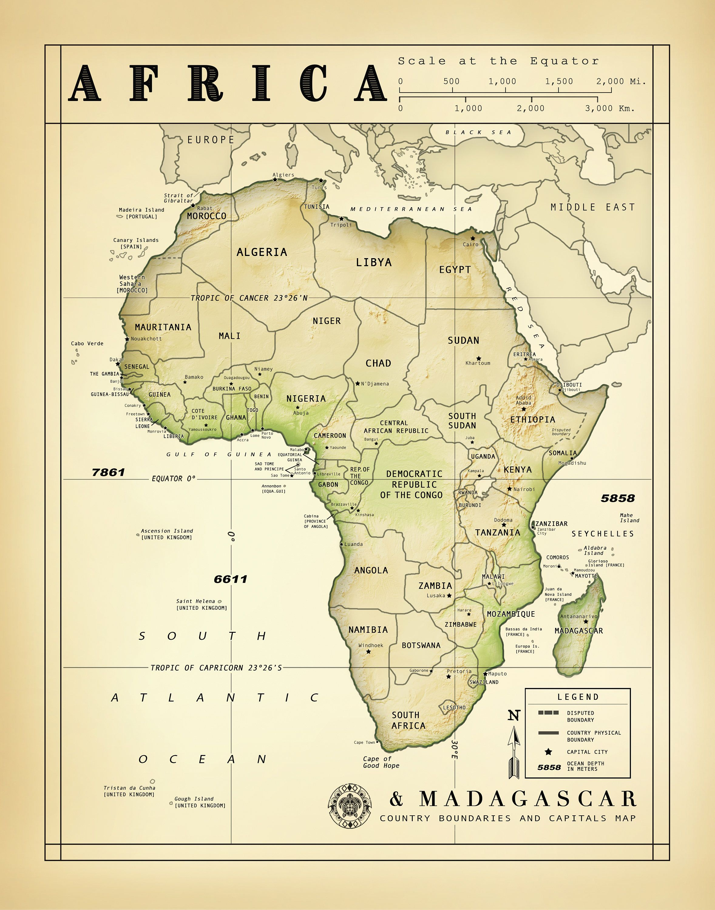 Africa madagascar 11 x 14 vintage inspired country boundaries africa madagascar 11 x 14 vintage inspired country boundaries map by kokuadesigncompany on gumiabroncs Gallery