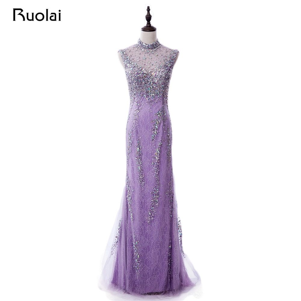 Real made lilac prom dresses long high neck luxury crystal beaded