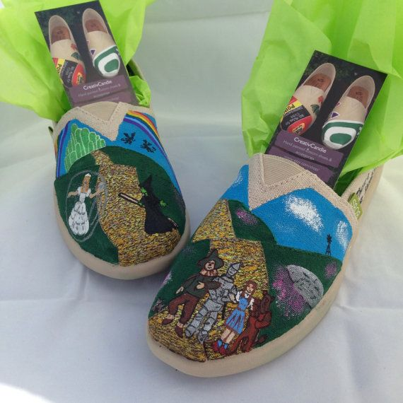 Wizard of Oz hand painted custom shoes